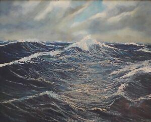 Gemälde von Harland A. Riker  Hohe See  Öl auf Leinwand