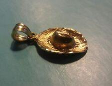 14K SOLID YELLOW GOLD 3D COWBOY HAT CHARM PENDANT DIAMOND CUT  ((734))