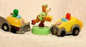 Three Wendy's Toys Kid's Meal 2 Rolling cars 1997  - Yogi Bear Rolling toy 1990