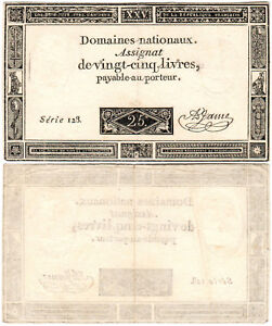 France 25 Livres P#A71 (06.06.1793) Domaines Nationaux XF
