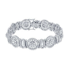 Womens 11.64 CT 18K White Gold Natural Baguette Round Cut Real Diamond Bracelet