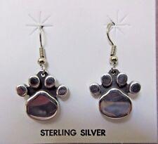 Native Navajo Sterling Silver Paw Print Design Hook Earrings  JE0291