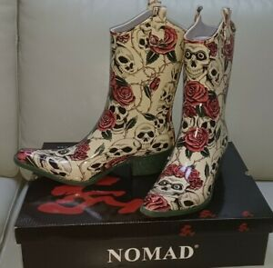 Nomad Yippy Natural Skull & Roses Rain Snow Rubber Wester Style Boots Size 11