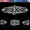 Silver Motif Crystal Rhinestone Diamante Sew On Applique for Bridal Dress Patch