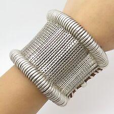 "Antq 925 Sterling Silver & Thread Unique Wide Handmade Bracelet 7 1/4"""
