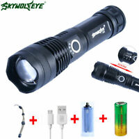 Super Bright 1000 Lumens Zoom LED USB RechargeableTactical Flashlight Lamp 18650