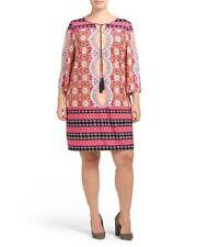 Plus Size Sandra Darren Printed Shift Dress NEW 24W/2X-3X.
