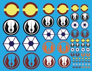 Clone Wars waterslide decals republic rade federation bandai revell fine molds