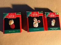 Hallmark Keepsake Ornaments Kitty Angel Snowman(Lot Of 3: 1991) Miniatures