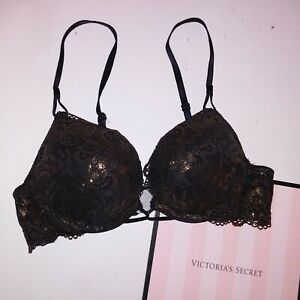 Victoria Secret Bra 32AA Bombshell Push Up Black Gold Lace Plunge Miraculous