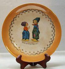 Dutch Boys Plate with Caption Lusterware Orange DE McNicol Pottery Antique