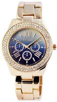 Excellanc Damenuhr Blau Gold Strass Römische Ziffern Chrono-Look X180303100034