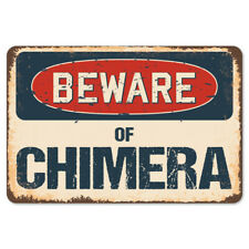 Beware Of Chimera Rustic Sign SignMission Classic Rust Wall Plaque Decoration