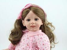 24'' Curly Doll Vinyl Silicone New Cute Reborn Baby Toddler Dolls Audrey Gifts