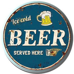 """""""Ice Cold Beer Served Here"""" 34cm Circular Metal Novelty Wall Sign For Man Cave"""