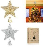 10'' Christmas Tree Star Topper Ornament LED Light Star Christmas Party Decor US