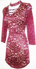 CRYSTAL DOLL WOMEN'S BURGUNDY LACE BACK ZIP DRESS SIZE STRETCHY 7 NWOT
