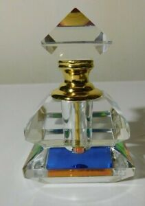 NEVER USED MARILYN MIGLIN IRIDESCENT CRYSTAL GEOMETRIC PERFUME BOTTLE W DAUBBER