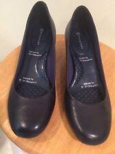 Womens Navy Blac Leather Slip-On AdiPrene Comfort Pump Heels Sz.7.5  By Rockport