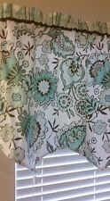 "Elegent Bathroom Scalloped Valance 55"" X 21"" Greens White Brown Floral Print"