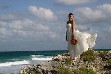 $360 BCBG Timona Off-White Stripes Strapless Beach Wedding Gown Silk Dress 2 XS