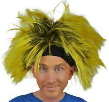 Men's Fancy Dress Wig, Halloween, Punk, Clown, Fun, Headband,  Yellow & Black