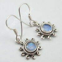 925 Pure Silver Blue Facetted Rainbow Moonstone Dangle Earrings Women Jewelry