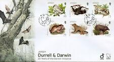 JERSEY 2017 FDC Durrell & Darwin 6 V Set Coprire VOLATILI PIPISTRELLI Lucertole RANE FRANCOBOLLI