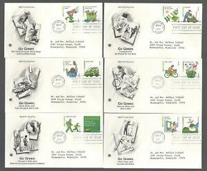 #4524a-p Go Green  Set of 16 on 8 FDC's Artcraft PCS Cachets G5107