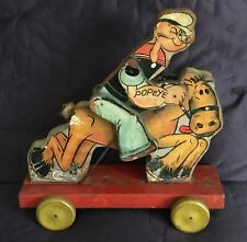 FISHER PRICE  POPEYE ON HORSE  C. 1937  PULL TOY   COWBOY  705