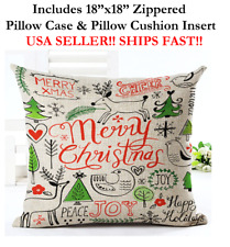 "18x18 18"" MERRY HAPPY CHRISTMAS XMAS X-MAS Zippered Throw Pillow Case & Cushion"