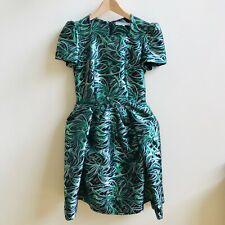 Y otras historias Verde Vestido De Sauce Brocado Metálico planta tropical Plisado 10 36