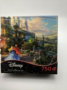 Ceaco Thomas Kinkade Mickey & Minnie Sweetheart Cove 750ct Puzzle complete