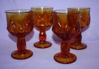 """Vintage Franciscan CABARET Wine Goblets ~ 6"""" Tall ~ Set of 4 ~ Amber ~ Flower"""