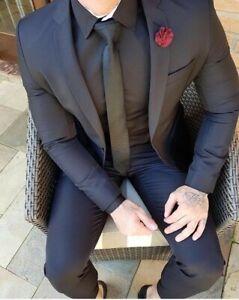 Men's Black 2Pcs Slim Fit Suit Groom Tuxedos Wedding Dinner Prom Suits Custom
