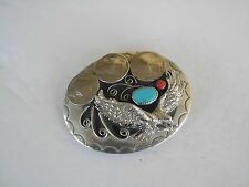 BELT BUCKLE EAGLE SOUTHWEST 3 NICKLES 1-TURQUOISE,1-CORAL, MADE IN USA G-25