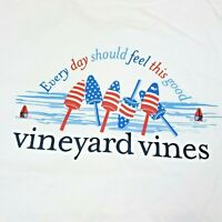 Vineyard Vines Short Sleeve Pocket T-Shirt Womens Size XS White USA Flag Buoy