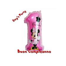 Palloncino Numero Uno Mickey Mouse Minnie Cm. 75 X 35 Compleanno Torta Festa