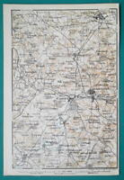 1897 BAEDEKER MAP - ENGLAND Warwick & Environs + Plan of Kenilworth Castle