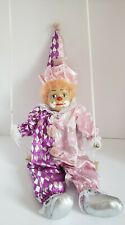 Clown Marionette Vintage Painted Porcelain head with Swing Pink Purple outfit