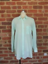 NEW LADIES 12 40  MINT GREEN 100%  COTTON SHIRT DESIGNER BANDOLERA SOFT SHEER