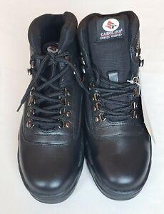 New Vtg. Carolina Red Bird Lace Up Steel Toe Safety Black Leather Work Shoes 8.5