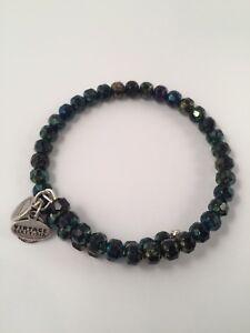 Alex and Ani Vintage 66 Blue/Green Beaded Wrap Bracelet