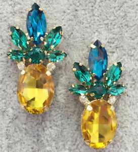 ❤️Earrings 9ct Gold Finish Multi Gem ❤️ Pineapple Studs 40 mm Mother Gift ❤️