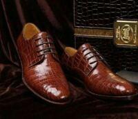 Handgefertigte braune Leder Krokodil Derby Schnürschuhe für Männer