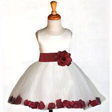 IVORY WEDDING FLOWER GIRL DRESS TIEBOW SASH PETAL PAGEANT 12-18M 2 3 4 6 8 10 12