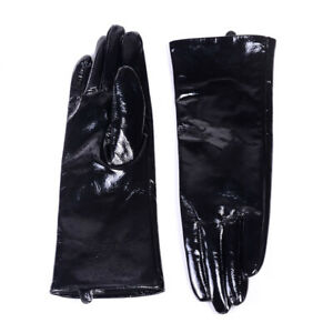 30cm Men's Real Leather Patent leather Shiny Black Punk Gauntlet Mid-long gloves