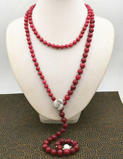 Jewelry 6-10mm faceted Africa Ruby 10-11mm pearl Hand knitting necklace 60""