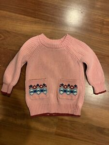 Hanna Andersson Heavy Knit Pink Sweater With Pockets Size 80 2T