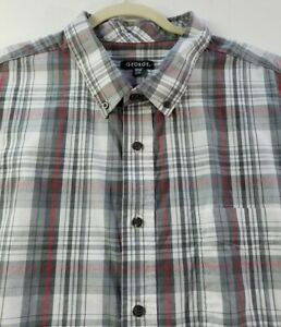 George Men's Short Sleeve Button Up Shirt 3XL XXXL Gray Red Plaid Pocket Casual